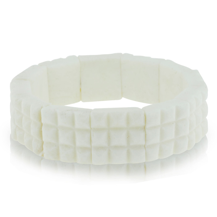 Enhanced White Coral Stretch Bracelet