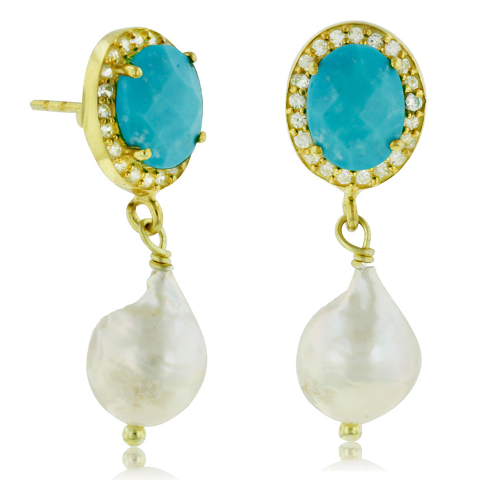 6 Carat Turquoise And Pearl Halo Dangle Earrings, Sterling Silver With Gold Overlay