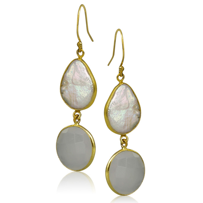 jewelpearl.com view the photo of  20 Carat Moonstone and Pearl Earrings in Sterling Silver with Gold Overlay