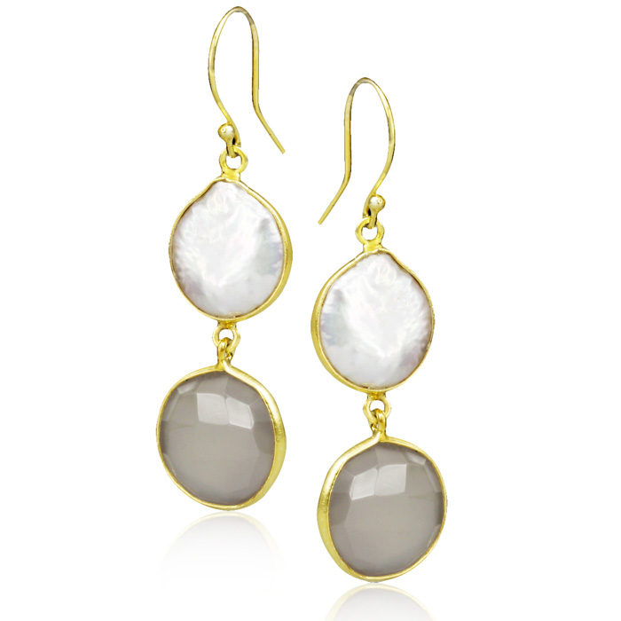 jewelpearl.com the marcasite jewelry place    20 Carat Grey Onyx and Pearl Earrings in Sterling Silver with Gold Overlay