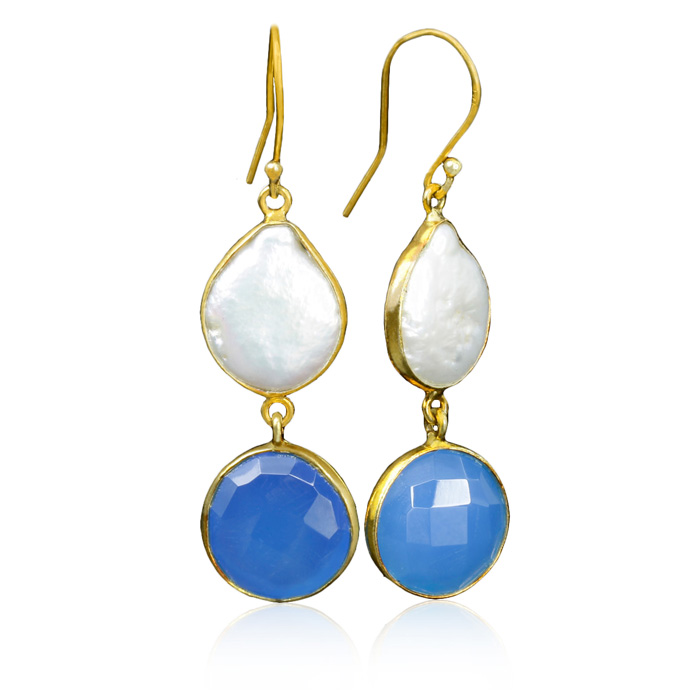 jewelpearl.com view the photo of  20 Carat Blue Chalcedony and Pearl Earrings in Sterling Silver with Gold Overlay