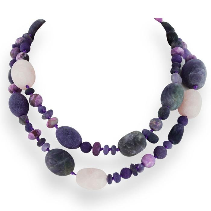 Amethyst, Rose Quartz, And Purple Quartz Strand Necklace, 28 Inches