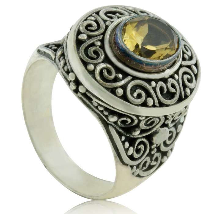1 2/3 Carat Oval Shaped Citrine Ring, Sterling Silver,