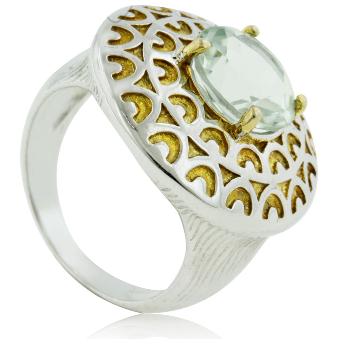 Two Tone 2 1/3 Carat Green Amethtyst Ring, Sterling Silver, Size 6