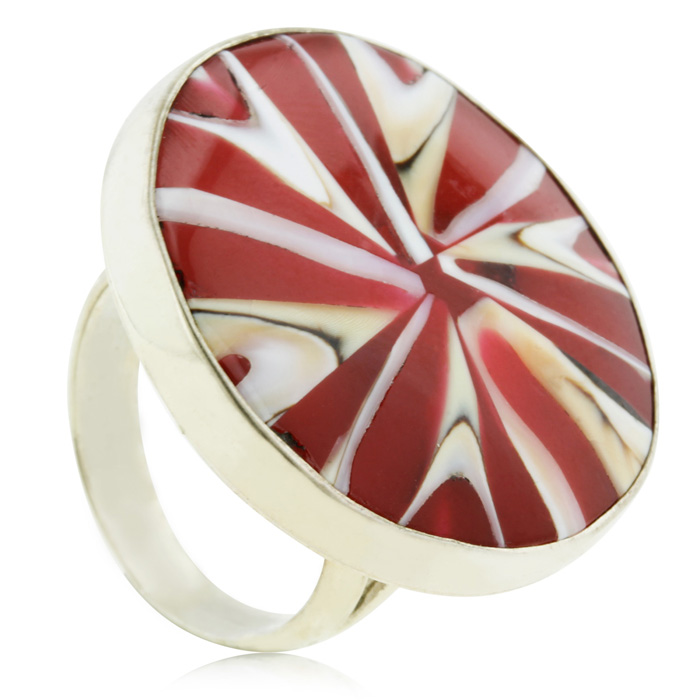 Candy Cane Inspired Statement Ring In Sterling Silver
