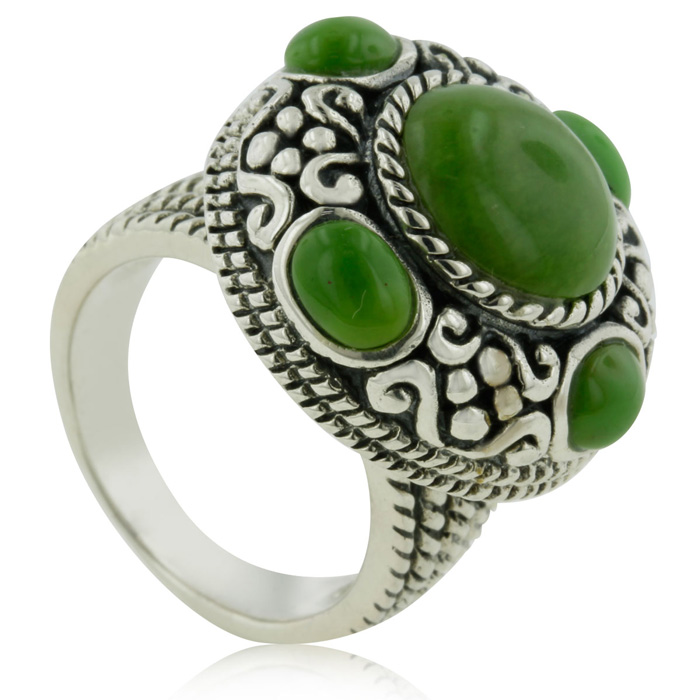 Intricate Green Turquoise Statement Ring In Sterling Silver