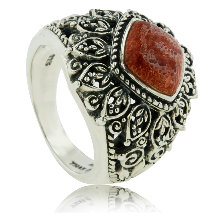 2 Carat Cushion Cut Red Coral Statement Ring In Sterling Silver