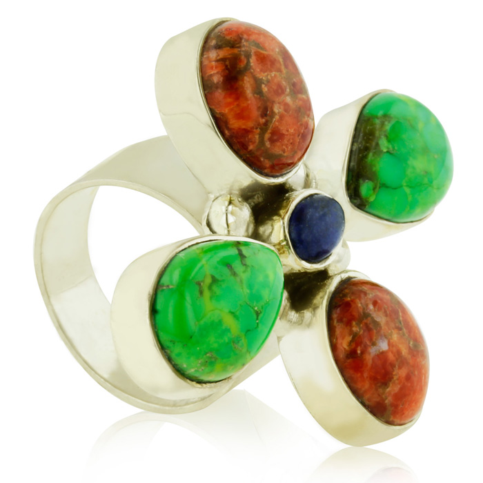 Green Turquoise, Coral, and Lapis Ring, Sterling Silver, Size 7
