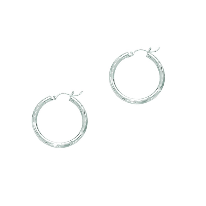 14 Karat White Gold Polish Finished 25mm Diamond Cut Hoop Earrings With Hinge With Notched Closure