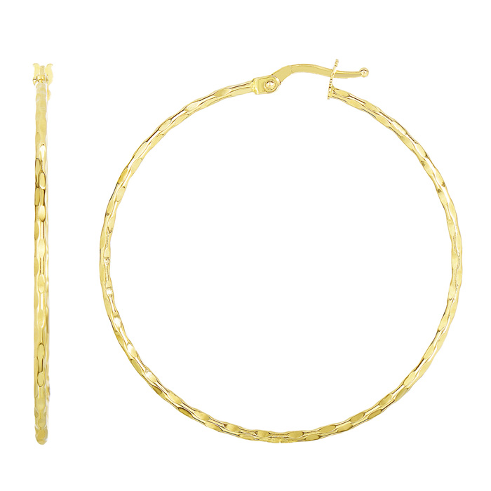 14 Karat Yellow Gold Polish Finished 45mmtextured Hoop Earrings With Hinge With Notched Closure