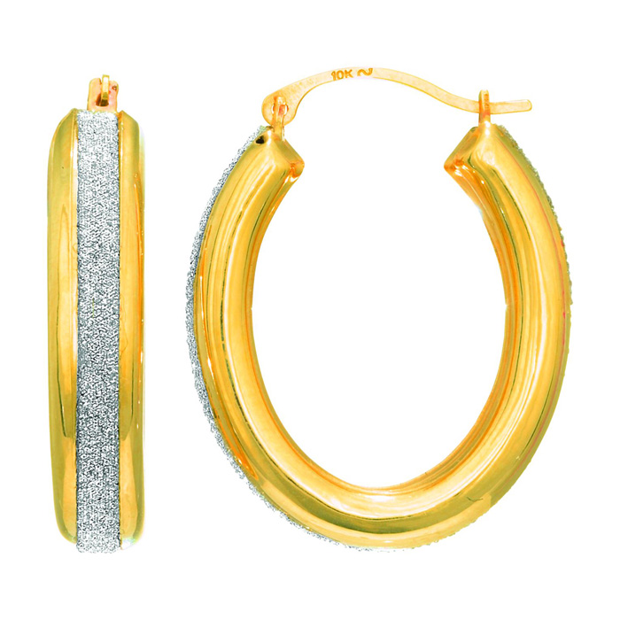 14 Karat Yellow Gold Polish Finished 17mm Laser Finished Glitter Hoop Earrings With Hinge With Notched Closure