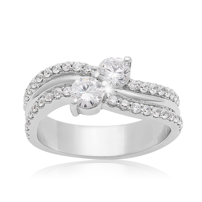 1 Carat Two Stone Diamond Arch Ring In 14K White Gold thumbnail
