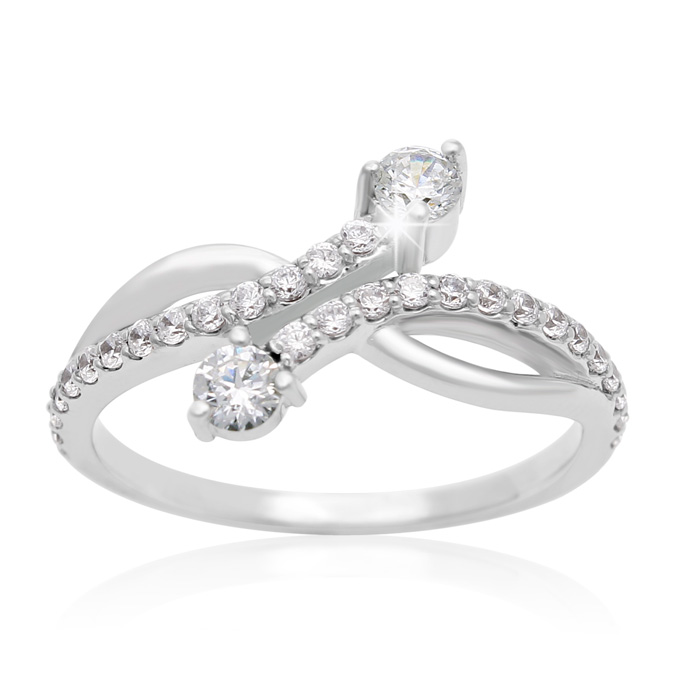 1/2 Carat Two Stone Diamond Curve Ring In 10K White Gold thumbnail