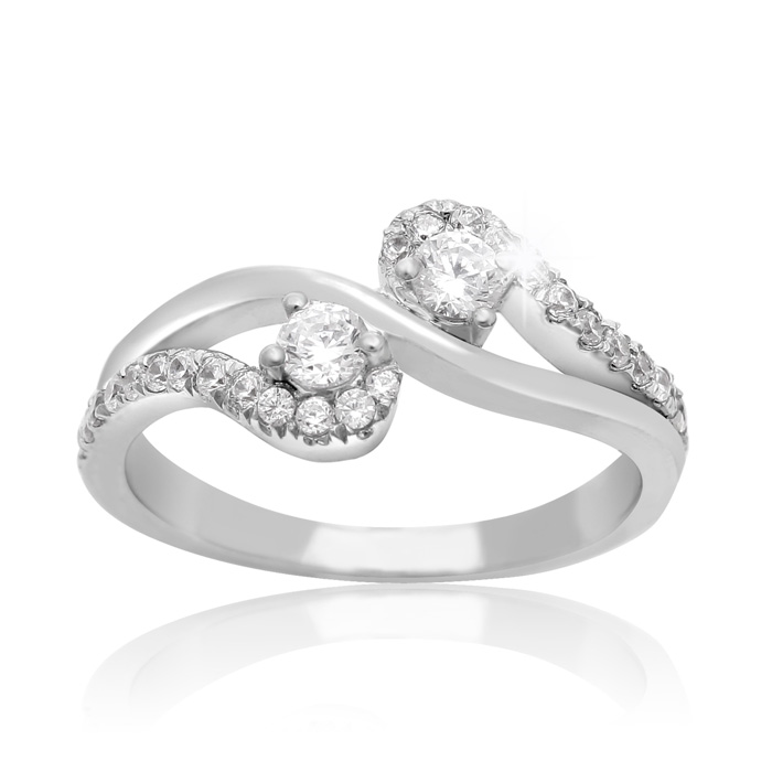 1/2ct Two Stone Diamond Graceful Ring In 10K White Gold thumbnail
