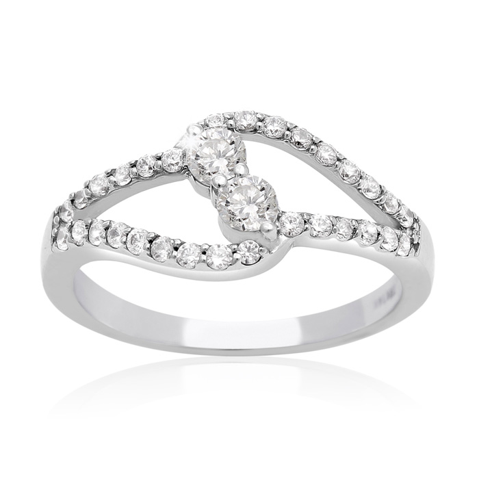 1/2 Carat Two Stone Diamond Intertwined Ring In 10K White Gold thumbnail
