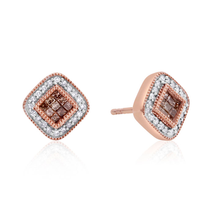 1/3 Carat Chocolate Bar Colored Champagne and White Diamond Pave Earrings 10 Karat Antique Rose Gold Over Sterling Silver