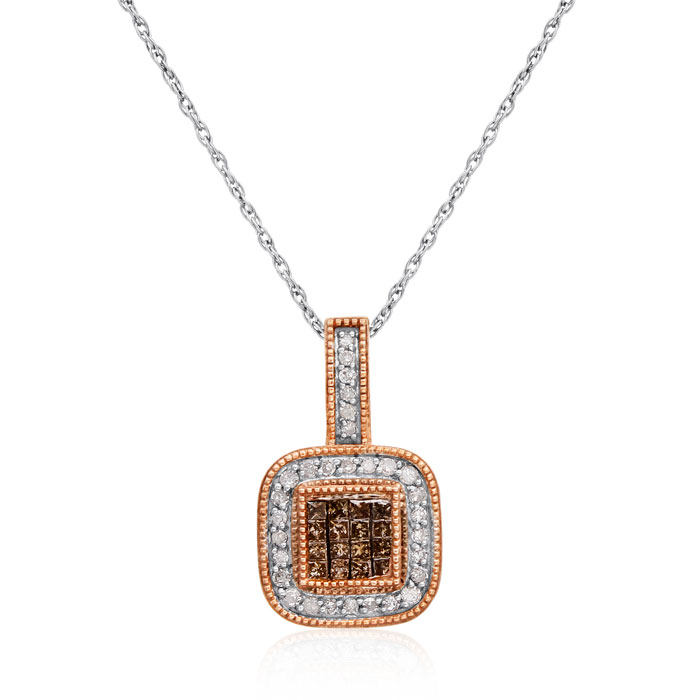 1/3 Carat Chocolate Bar Colored Champagne and White Diamond Pave Necklace 10..