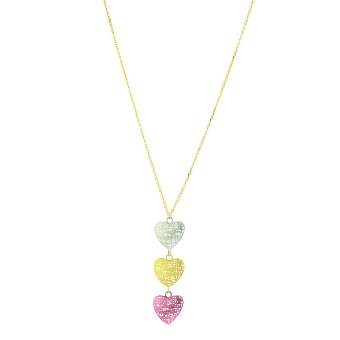 14 Karat Yellow, White and Rose Gold 38x12mm Mesh Triple Heart Shaped Necklace, 18 Inches 18737
