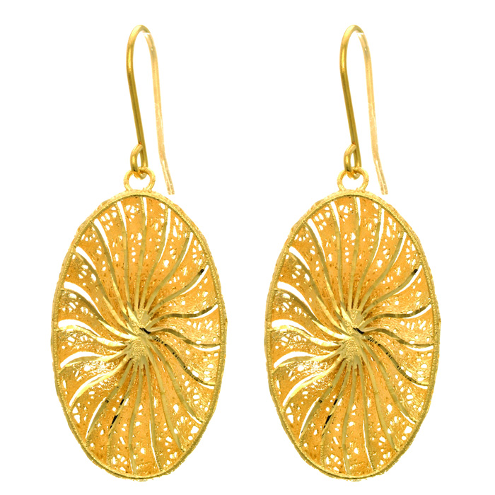 14 Karat Yellow Gold 29x16mm Oval Shaped Starburst Earrings With Fishhook Backs