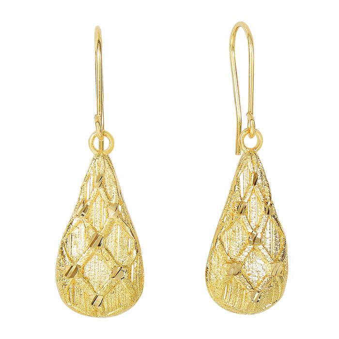 14 Karat Yellow Gold 35x11mm Argyle Drop Earrings With Fishhook Backs