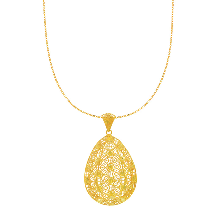 14 Karat Yellow Gold 45x26mm Pear Shaped Mesh Necklace, 18 Inches