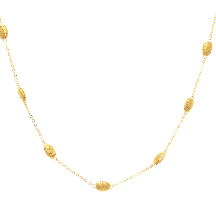 14 Karat Yellow Gold Station Necklace, 18 Inches