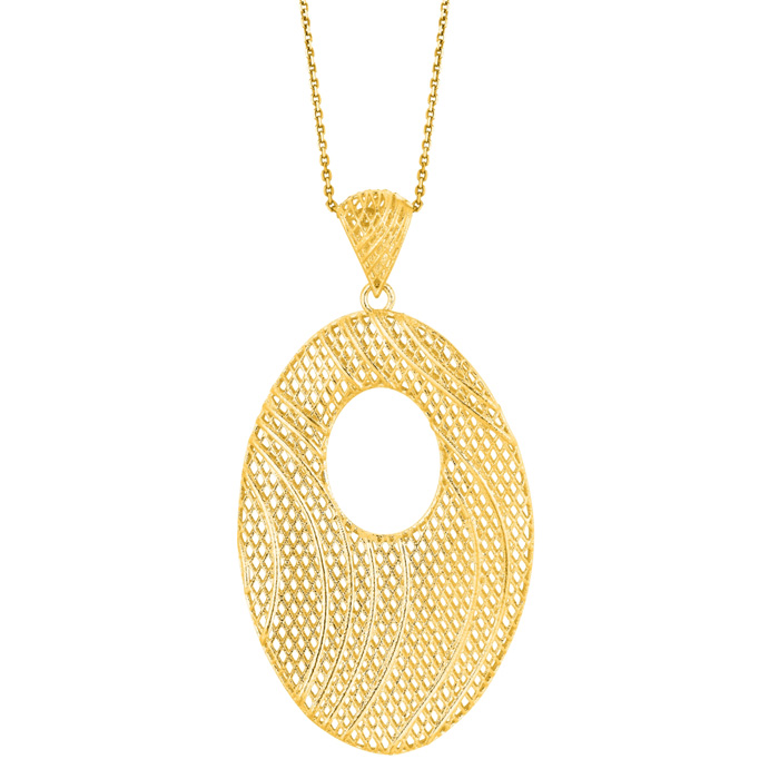 14 Karat Yellow Gold 25x19mm Mesh Swirl Necklace, 18 Inches