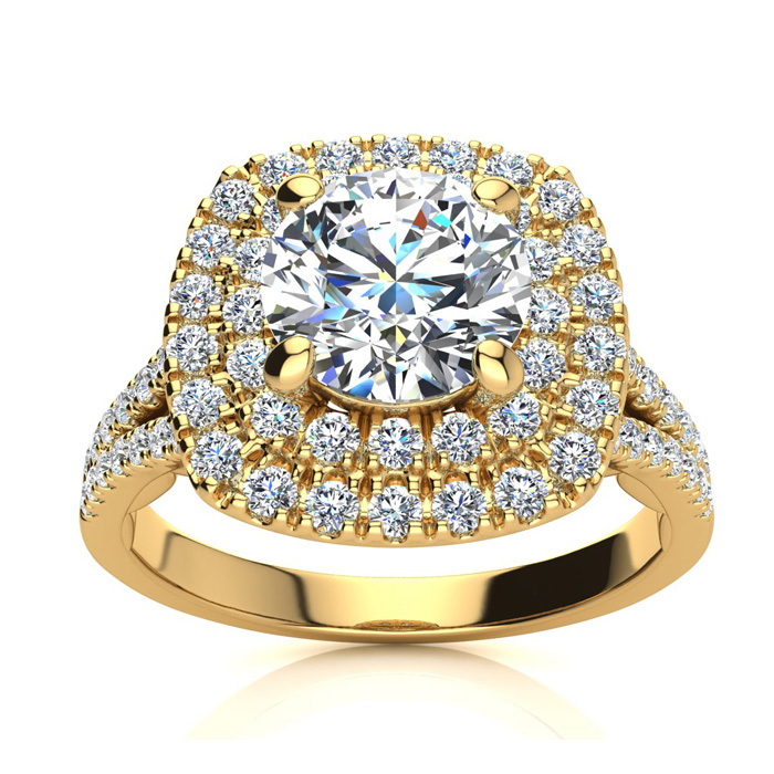 1.25 Carat Huge Looking Double Designer Diamond Halo Engagement Ring In 14 Karat Yellow Gold