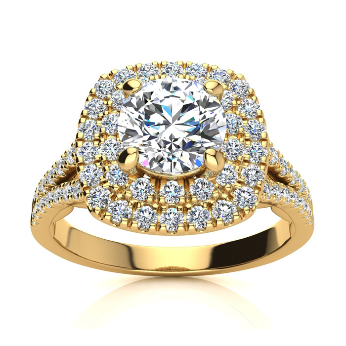1.50 Carat Huge Looking Double Designer Diamond Halo Engagement Ring In 14 Karat Yellow Gold
