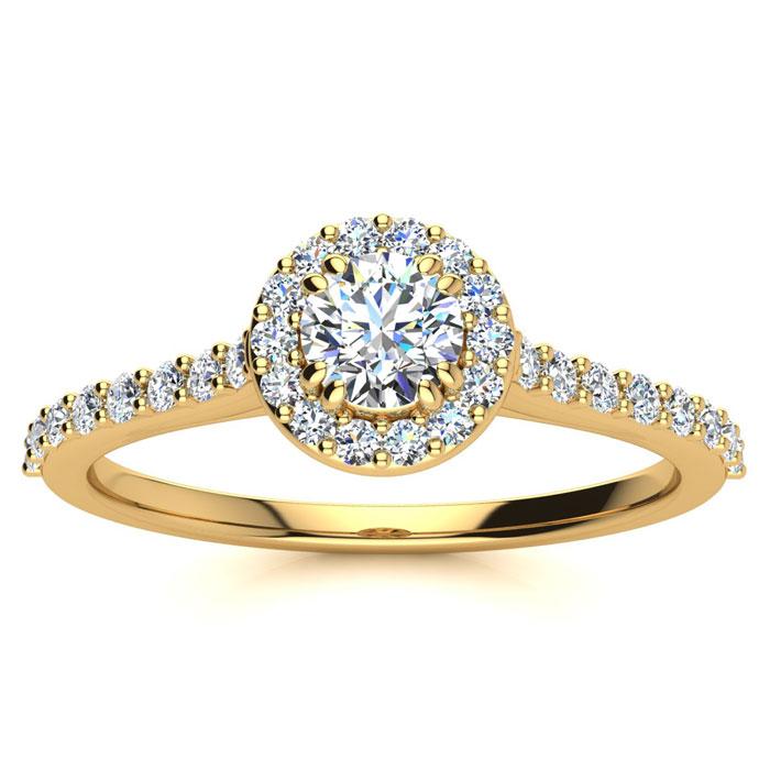 1/2 Carat Perfect Halo Diamond Enagagement Ring In 14 Karat Yellow Gold