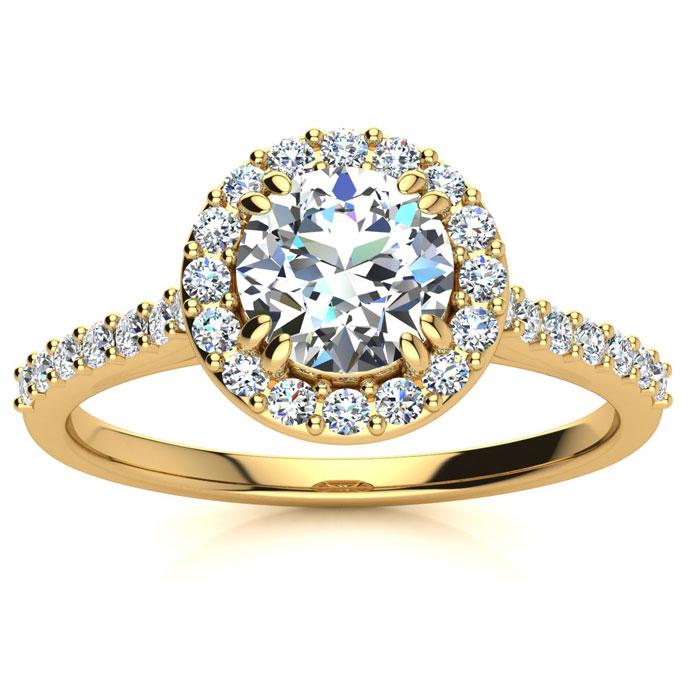 1 Carat Perfect Halo Diamond Enagagement Ring In 14K 14 Karat Yellow Gold