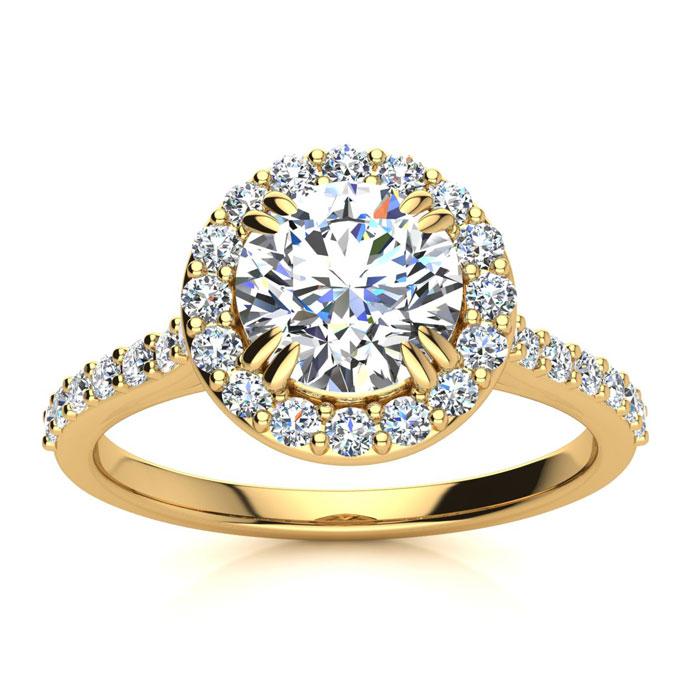 1.25 Carat Perfect Halo Diamond Enagagement Ring In 14K 14 Karat Yellow Gold