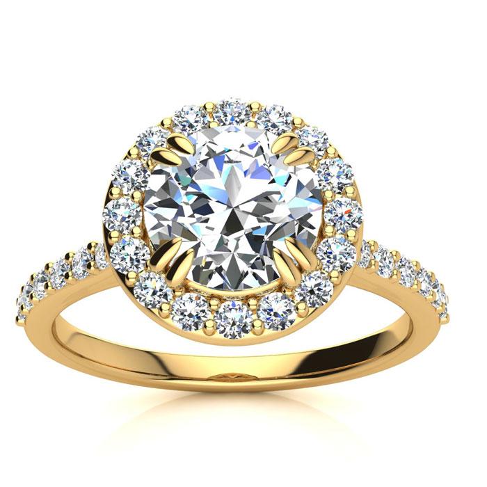 2.00 Carat Perfect Halo Diamond Enagagement Ring In 14K 14 Karat Yellow Gold
