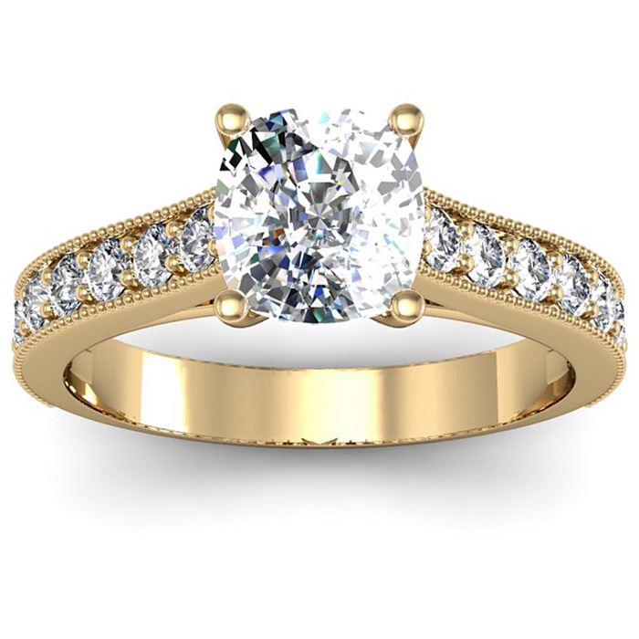 1.50 Carat Solitaire Engagement Ring With 1 Carat Cushion Cut Center Diamond In 14K Yellow Gold