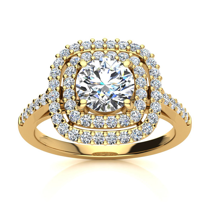 Double Halo 1.50 Carat Engagement Important Looking Ring In 14K Yellow Gold