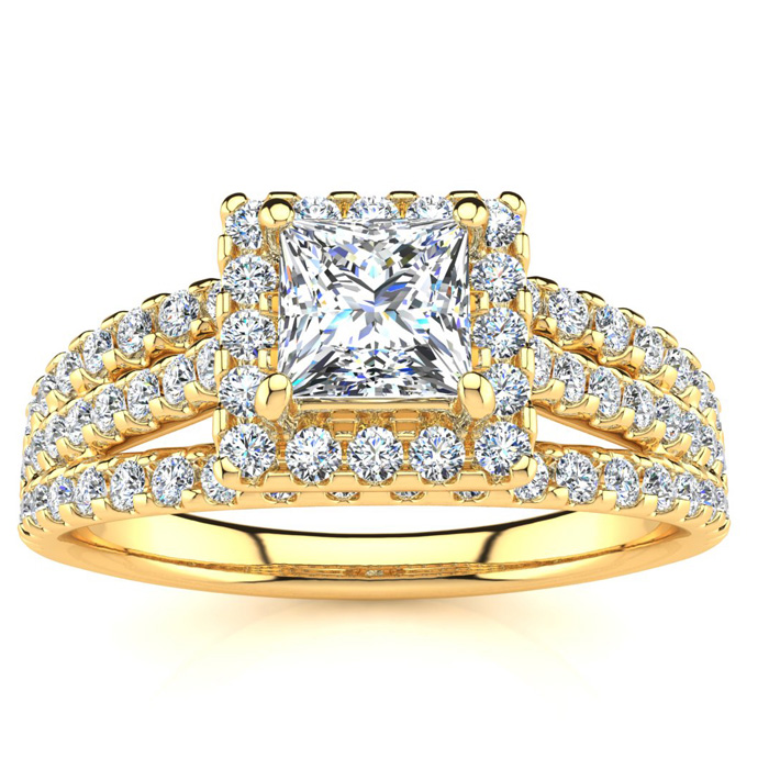 1.00 Carat Elegant Princess Cut Diamond Halo Engagement Ring With 74 Fiery Accent Diamonds In 14 Karat Yellow Gold