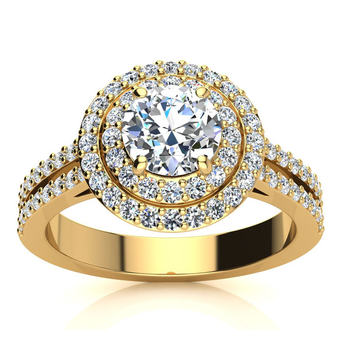 1.50 Carat Halo Engagement Ring With A 3/4 Carat Round Brilliant Center Diamond In 14K Yellow Gold