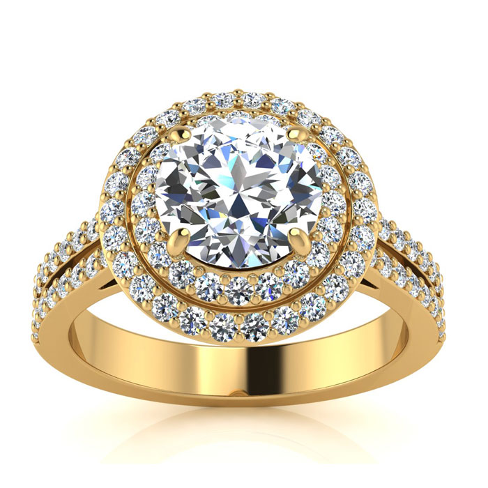 2.00 Carat Halo Engagement Ring With A 1 Carat Round Brilliant Center Diamond In 14K Yellow Gold