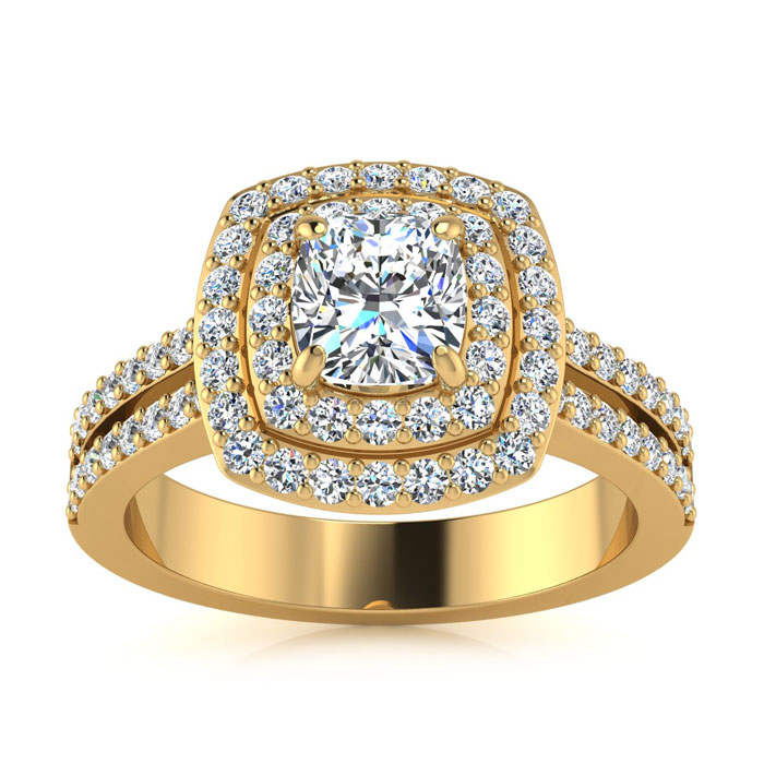 1.50 Carat Halo Engagement Ring With A 3/4 Carat Cushion Cut Center Diamond In 14K Yellow Gold