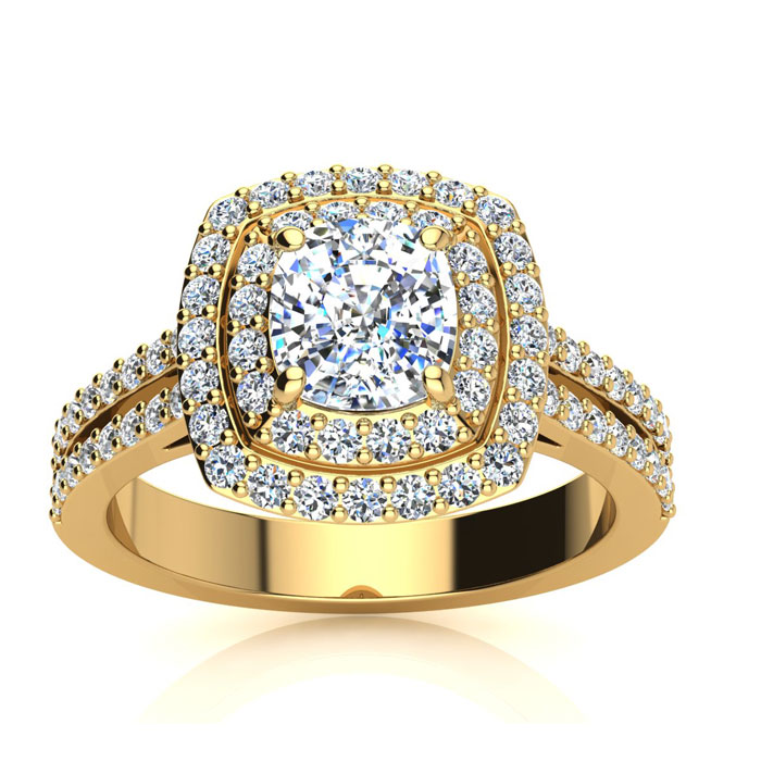2.00 Carat Halo Engagement Ring With A 1 Carat Cushion Cut Center Diamond In 14K Yellow Gold