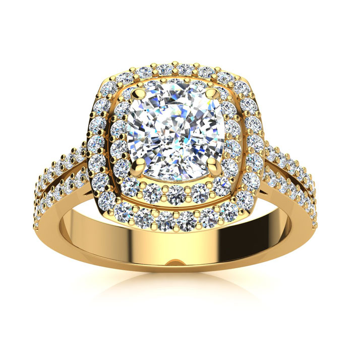 2.50 Carat Halo Engagement Ring With A 1.50 Carat Cushion Cut Center Diamond In 14K Yellow Gold