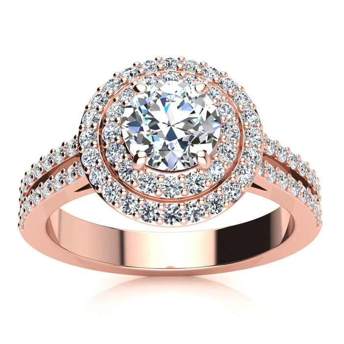1.50 Carat Halo Engagement Ring With A 3/4 Carat Round Brilliant Center Diamond In 14K Rose Gold
