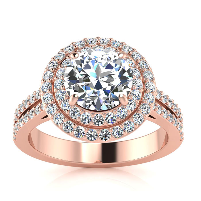 2.00 Carat Halo Engagement Ring With A 1 Carat Round Brilliant Center Diamond In 14K Rose Gold