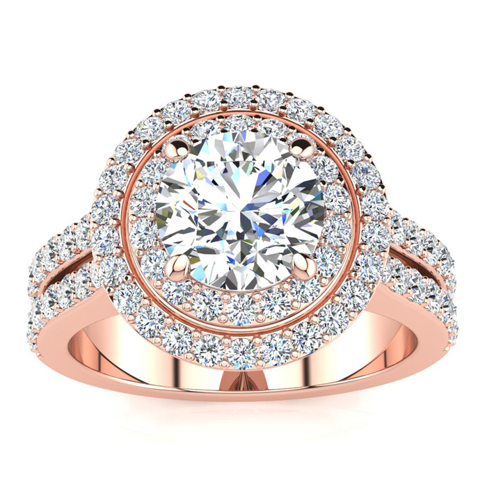 2.50 Carat Halo Engagement Ring With A 1.50 Carat Round Brilliant Center Diamond In 14K Rose Gold