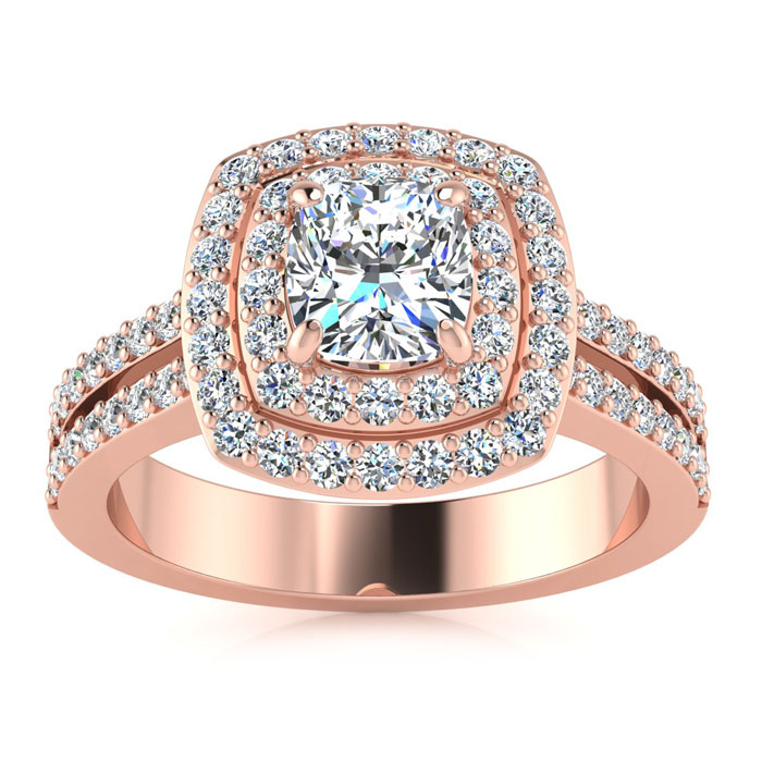 1.50 Carat Halo Engagement Ring With A 3/4 Carat Cushion Cut Center Diamond In 14K Rose Gold
