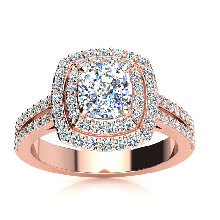 2.00 Carat Halo Engagement Ring With A 1 Carat Cushion Cut Center Diamond In 14K Rose Gold