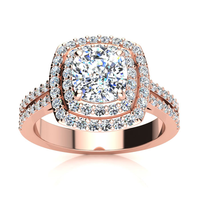 2.50 Carat Halo Engagement Ring With A 1.50 Carat Cushion Cut Center Diamond In 14K Rose Gold