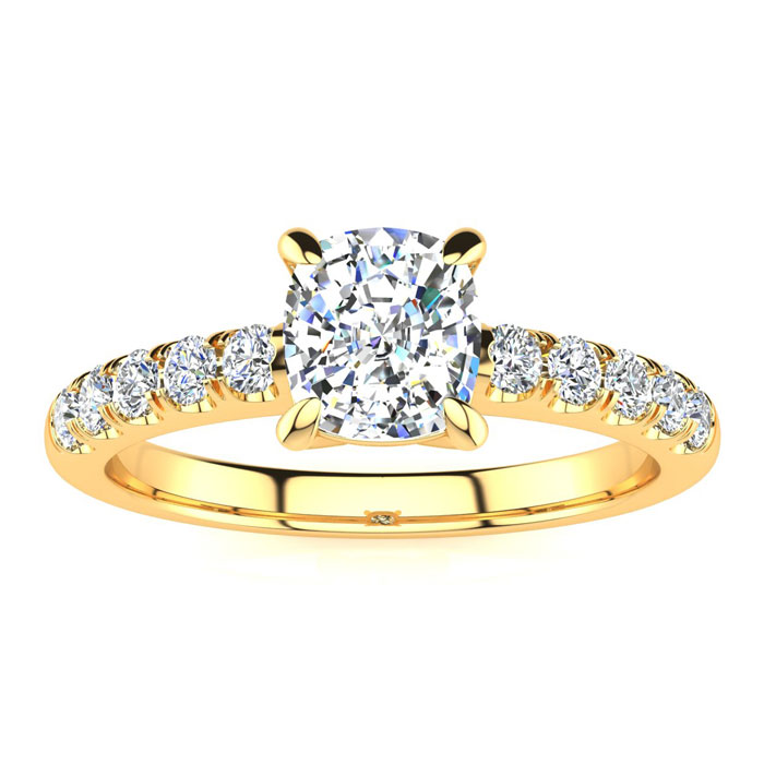 1.30 Carat Traditional Diamond Engagement Ring with 1 Carat Center Cushion Cut Solitaire In 14 Karat Yellow Gold