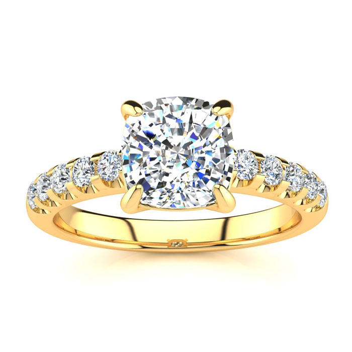 2.30 Carat Traditional Diamond Engagement Ring with 2 Carat Center Cushion Cut Solitaire In 14 Karat Yellow Gold