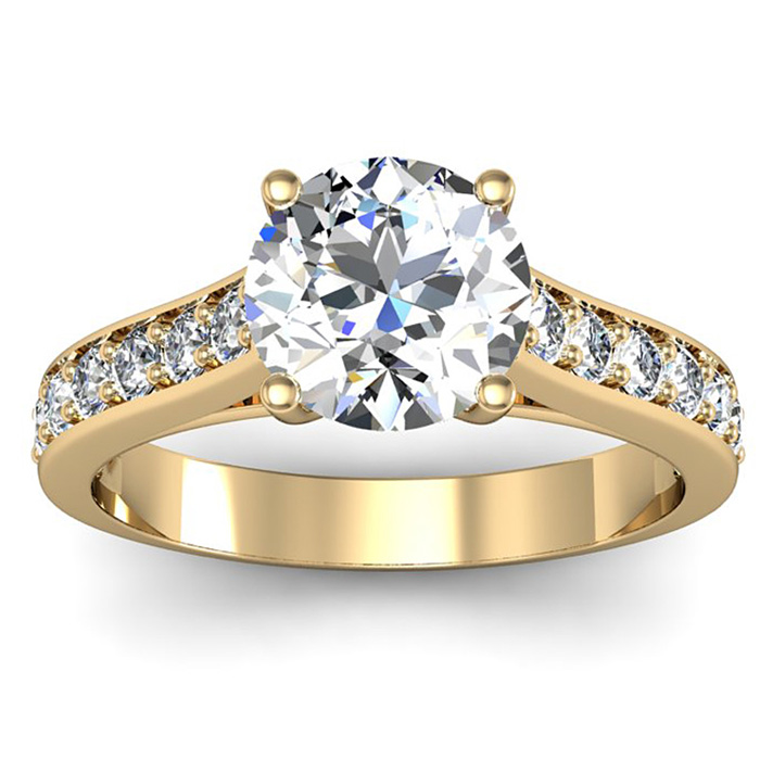 2.00 Carat Classic Engagement Ring With 1.50 Carat Center Diamond In 14K Yellow Gold